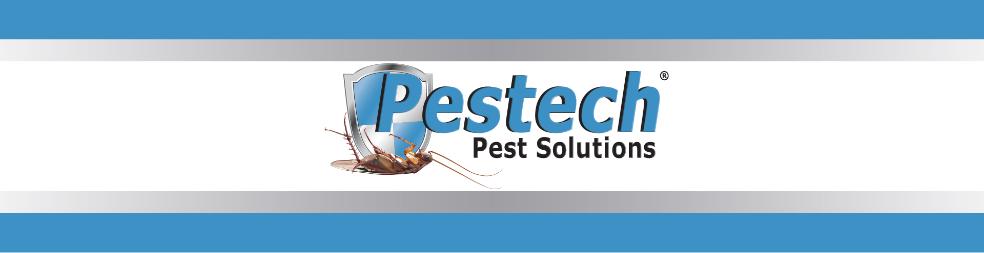 Pestech logo with blue and grey border